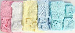 5 Pcs Knit Crochet Unisex Baby Set Blanket Pant Sweater Hat Booties Shiny Thread