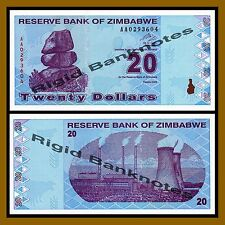 Zimbabwe 20 Dollars, 2009 P-95 Revised Trillion Unc