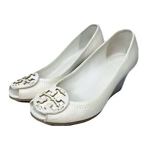 TORY BURCH White Sz 5 Open Toe Leather Wedges Women's Sandals