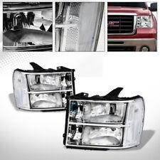 OE STYLE CHROME CLEAR HOUSING HEAD LIGHTS SIGNAL LAMPS NB 2007-2014 GMC SIERRA