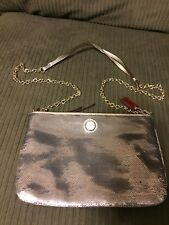 RARE COACH METALLIC CROSSBODY CLUTCH PURSE BAG SILVER SEQUINS LEATHER TRIM 48422