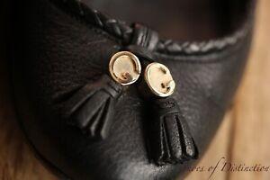 Ladies Gucci GG Black Leather Tassel Loafers Shoes Flats Pumps UK 3.5 EU 35.5