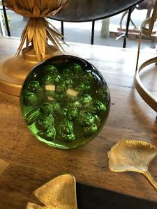 """Green Glass paperweight - large heavy some signs of wear 6"""" x 6"""" 14 cm doorstop"""