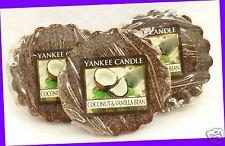 3 Yankee Candle COCONUT & VANILLA BEAN Wax Tarts Mini Candle apprx. 8 hrs ea