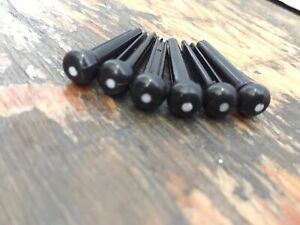 6 x Black Acoustic Guitar Bridge Pins Molded Plastic String End Pegs / Pegs