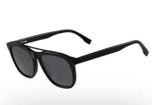 Lacoste Men's Black Square Brow Bar Sunglasses with Grey Lens - L822S 001