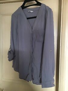 Ladies George Pale Grey V Neck Button Up 3/4 Sleeve Blouse Size 18