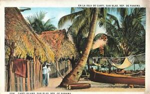 Early PANAMA Indian Village Island of Carti SAN BLAS   Postcard