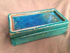 Bitossi ceramic pottery box blue fused glass by Raymor  Londi Netter era Italy