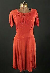 VTG Women's 30s 40s Orange Rayon Dress Sz M 1930s 1940s