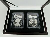 2012 S Silver Eagle San Francisco  2-Coin Set PCGS  Pf/Rev.Pf 70 Mercanti Signed