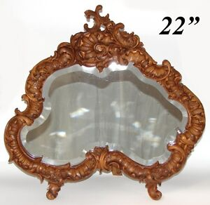 """Gorgeous Vint. 1918 French Carved 22"""" Dresser or Boudoir Vanity Mirror, Rococo"""