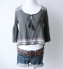 NWT HOLLISTER Abercrombie Embroidered Boho Peasant Bell Sleeve Crop Top Blouse S