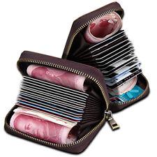 Solid Leather Accordion men Wallet Zip Around ID Credit Card Holder Storage Case