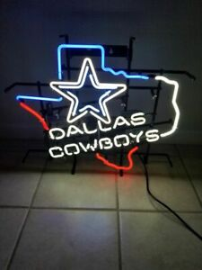 "Dallas Cowboys Texas Neon Light Sign 24""x20"" Bar Decor Glass Handmade Artwork"