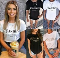 Womens Ladies Ye Saint Love Slogan Print Short Sleeve Summer T-Shirt Tee Top New