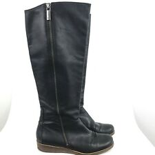 64928eb6267 Lucky Brand womens 7.5 Leather Knee High Boots Black wedge Riding