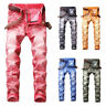 Mens Stretchy Skinny Jeans Biker Trousers Jogger Slim Fit Denim Ripped Pants NEW