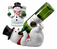 Christmas Frosty The Snowman Wine Holder Glass Salt Pepper Shakers Figurine Set