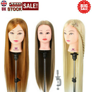 """26-30"""" Salon Hairdressing Training Head Long Practice Mannequin Doll+Clamp UK"""
