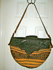 Vintage Sisal Woven Jute Fiber Straw Leather Market Shopper Bag Handbag Purse