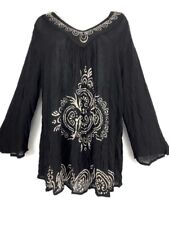 India Boutique Long Sleeves V Neck Black Top Rayon Sheer Boho 1 Size fits XLarge