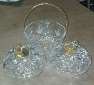 SET OF CUT GLASS / CRYSTAL ANNIVERSARY BOWLS AND BASKET. lovely gift.