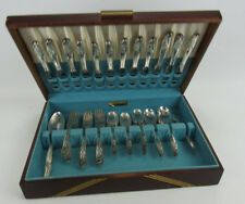 75 PC Rogers & Bros EXQUISITE Silverplate Flatware Set With Case 1952