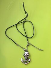 Black Pirate Skull Anchor Pendant Rubber Chain Necklace Gift
