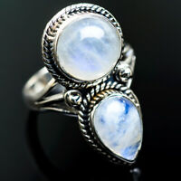 Large Rainbow Moonstone 925 Sterling Silver Ring Size 8.75 Jewelry R999069F