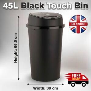 45L Black Plastic Touch Top Bin Dustbin Large Lid Rubbish Bin Indoor & outdoor