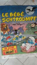 BELLE AFFICHE CINEMA 160 x 120 CM LE BEBE SCHTROUMPF PEYO 1984