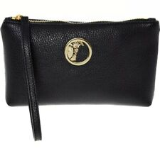 VERSACE Collection Designer Leather Black & Gold Tone Clutch Bag - Made In ITALY