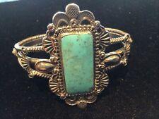 S Silver Turquoise Stone Bracelet.13x28mm Beautiful Handmade Vintage Hopi Navajo