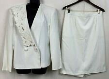 Vintage Gloria Vanderbilt Womens Skirt Suit Set Blazer Ivory Floral Lapels 14