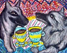 NORWEGIAN ELKHOUND Drinking Coffee Dog Pop Art Print 8 x 10 LE Signed by KSAMS