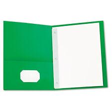 Universal Two-Pocket Portfolios w/Tang Fasteners 11 x 8-1/2 Green 25/Box 57117