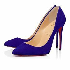 Christian Louboutin Pigalle Follies 100 Elixir Blue Suede Classic Heel Pump 36