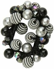 Caravan Faceted Ab And Colored Beads+Threaded Beads Enhance This Elastic Pony