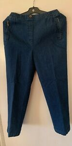 NEW WOMENS LADIES ELASTICATED WAIST JEANS POCKETS PEARLS PANTS PLUS SIZE 10-20