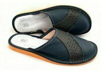 MENS 100% NATURAL LEATHER SLIPPERS MULES CLOGS SHOES ALL SIZES