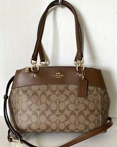 NWT Coach F25396 Brooke Carryall Signature handbag Coated canvas Khaki / Saddle
