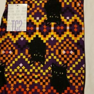 "LuLaRoe NWT Leggings Halloween ""TC2"" Tall & Curvy 2 RARE BLACK CAT W/ PIXELS"