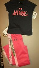 UNDER ARMOUR Girls Sz 5 Short Sleeve Tee & Pink Camo Stripe Sz 5 Athletic Pants