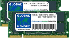 4gb (2x 2GB) DDR2 533mhz pc2-4200 200 pines SODIMM