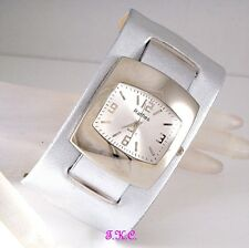 Ossie Retro 60s 70s Club Bubble Vegan Leather Silver Ladies Spaceman Cuff Watch