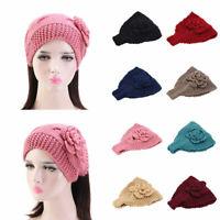 Knit Ear Women Flowers Girl Headwrap Warmer Headband Crochet Winter Hairband