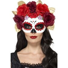 Women's Day Of The Dead Eye Mask & Rose Gothic Fancy Dress Halloween Masquerade