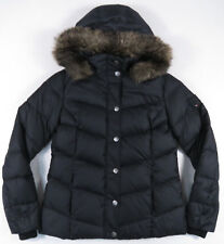TOMMY HILFIGER FAUX FUR HOOD DOWN FILLED WOMENS BLACK JACKET COAT OUTDOORS S