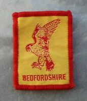 Vintage cloth Bedfordshire Scouts badge, 2 x 1.5 inches, good condition.